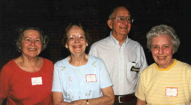 2001 Andrew Family Reunion - Strudell First Cousins (L to R) - Marjorie Kalhorn - Margaret Shaw - Edgar Griesbaum - Virginia Strudell - Click on Picture to View Full Screen